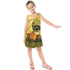 Halloween, Funny Pumpkins And Skull With Spider Kids  Sleeveless Dress
