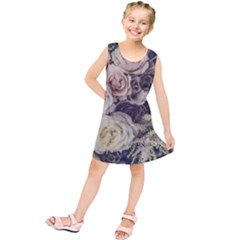 Pink And White Roses Kids  Tunic Dress