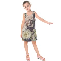 Pink And White Roses Kids  Sleeveless Dress