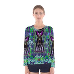 Lady Draccula With Flower Ghost And Love Women s Long Sleeve Tee