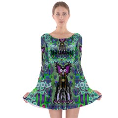 Lady Draccula With Flower Ghost And Love Long Sleeve Skater Dress
