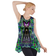 Lady Draccula With Flower Ghost And Love Side Drop Tank Tunic