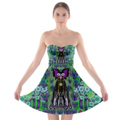 Lady Draccula With Flower Ghost And Love Strapless Bra Top Dress