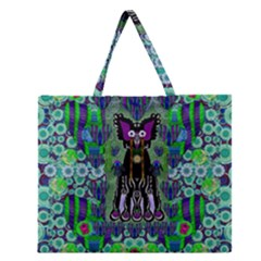 Lady Draccula With Flower Ghost And Love Zipper Large Tote Bag