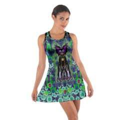 Lady Draccula With Flower Ghost And Love Cotton Racerback Dress