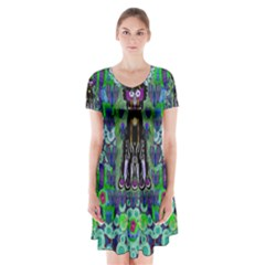 Lady Draccula With Flower Ghost And Love Short Sleeve V Neck Flare Dress