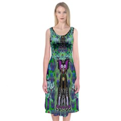 Lady Draccula With Flower Ghost And Love Midi Sleeveless Dress