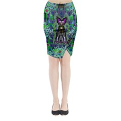 Lady Draccula With Flower Ghost And Love Midi Wrap Pencil Skirt