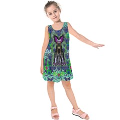 Lady Draccula With Flower Ghost And Love Kids  Sleeveless Dress