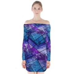 Night Shards Long Sleeve Off Shoulder Dress