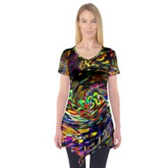 Abstract Art, Colorful, Texture Short Sleeve Tunic