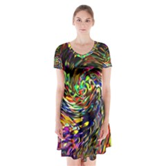 Abstract Art, Colorful, Texture Short Sleeve V Neck Flare Dress