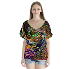 Abstract Art, Colorful, Texture Flutter Sleeve Top