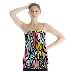 Abstract Doodle Strapless Top