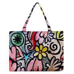 Abstract Doodle Medium Zipper Tote Bag