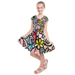 Abstract Doodle Kids  Short Sleeve Dress