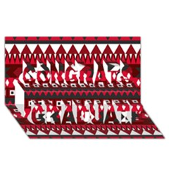 Asterey Red Pattern Congrats Graduate 3d Greeting Card (8x4)