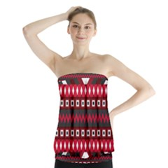 Asterey Red Pattern Strapless Top