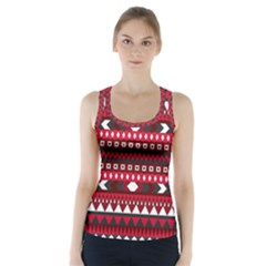 Asterey Red Pattern Racer Back Sports Top