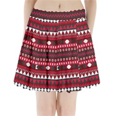 Asterey Red Pattern Pleated Mini Skirt
