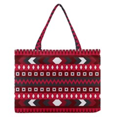 Asterey Red Pattern Medium Zipper Tote Bag