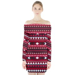 Asterey Red Pattern Long Sleeve Off Shoulder Dress