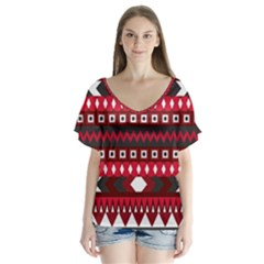 Asterey Red Pattern Flutter Sleeve Top