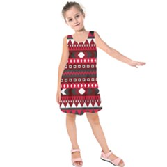 Asterey Red Pattern Kids  Sleeveless Dress