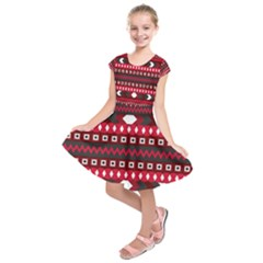 Asterey Red Pattern Kids  Short Sleeve Dress