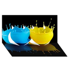 Bicolor Paintink Drop Splash Reflection Blue Yellow Black Twin Hearts 3d Greeting Card (8x4)