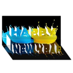 Bicolor Paintink Drop Splash Reflection Blue Yellow Black Happy New Year 3d Greeting Card (8x4)