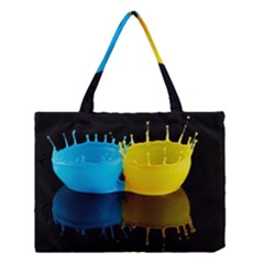 Bicolor Paintink Drop Splash Reflection Blue Yellow Black Medium Tote Bag
