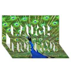 Bird Peacock Laugh Live Love 3d Greeting Card (8x4)