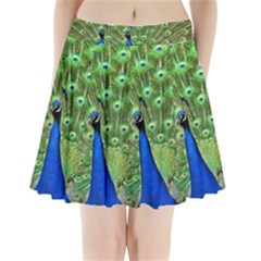 Bird Peacock Pleated Mini Skirt