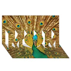 Bird Peacock Feathers MOM 3D Greeting Card (8x4)