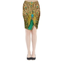 Bird Peacock Feathers Midi Wrap Pencil Skirt