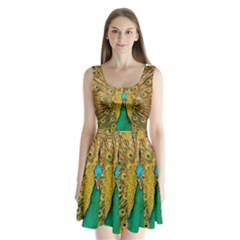 Bird Peacock Feathers Split Back Mini Dress