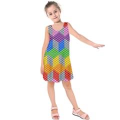 Block Pattern Kandi Pattern Kids  Sleeveless Dress
