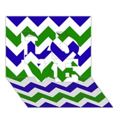 Blue And Green Chevron Pattern Love 3d Greeting Card (7x5)