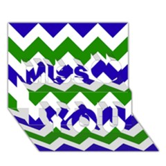 Blue And Green Chevron Pattern Miss You 3D Greeting Card (7x5)
