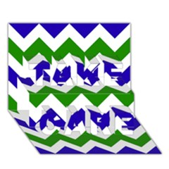Blue And Green Chevron Pattern Take Care 3d Greeting Card (7x5)