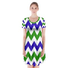 Blue And Green Chevron Pattern Short Sleeve V-neck Flare Dress