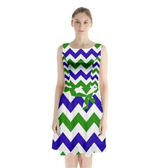 Blue And Green Chevron Pattern Sleeveless Chiffon Waist Tie Dress