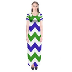 Blue And Green Chevron Pattern Short Sleeve Maxi Dress