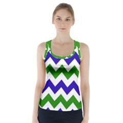 Blue And Green Chevron Pattern Racer Back Sports Top