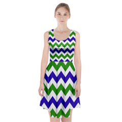 Blue And Green Chevron Pattern Racerback Midi Dress