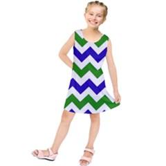 Blue And Green Chevron Pattern Kids  Tunic Dress