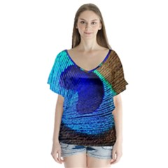 Blue Peacock Flutter Sleeve Top