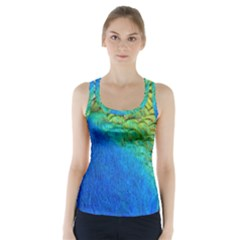 Blue Peacock Feathers Racer Back Sports Top