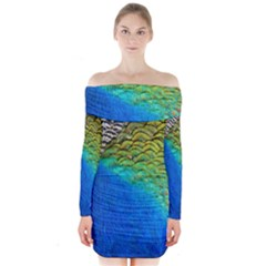 Blue Peacock Feathers Long Sleeve Off Shoulder Dress